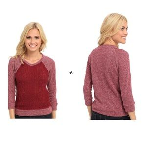 Lucky Brand Sweater Front Pullover Knit Burgundy